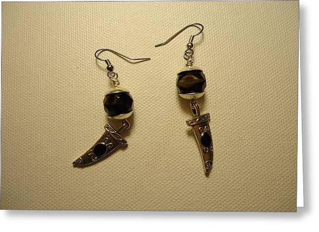 Fashion Jewelry Greeting Cards - Black Dagger Earrings Greeting Card by Jenna Green