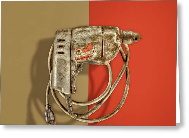Black Decker Drill Motor On Color Paper Greeting Card