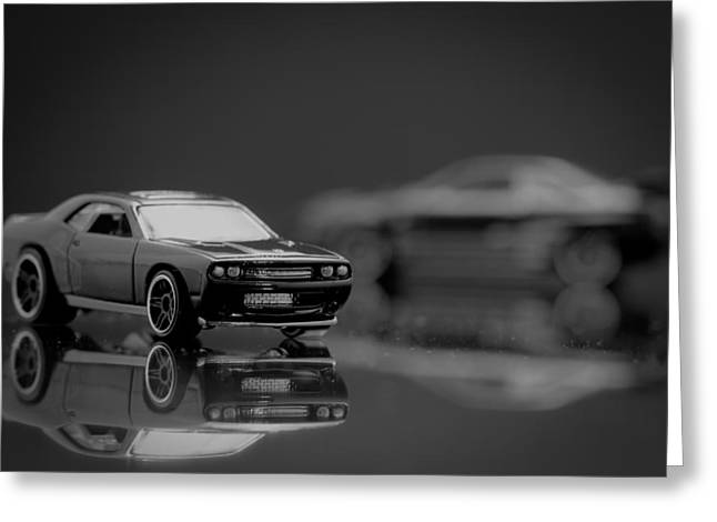 Black Dodge Challenger Greeting Card