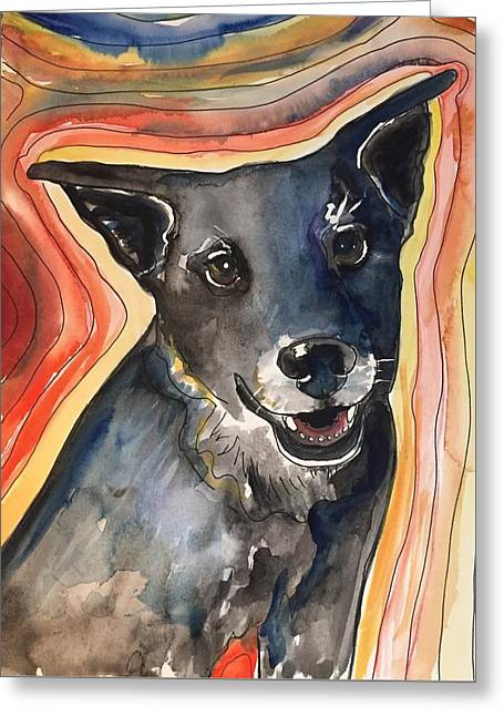 Black Dog Greeting Card by Kathryn Armstrong