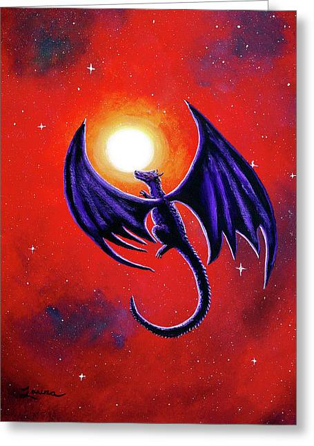 Black Dragon In A Red Sky Greeting Card by Laura Iverson