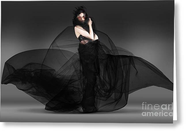 Black Fashion The Dark Movement In Motion Greeting Card