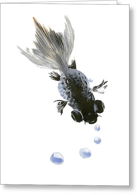 Black Fish Greeting Card by Suren Nersisyan