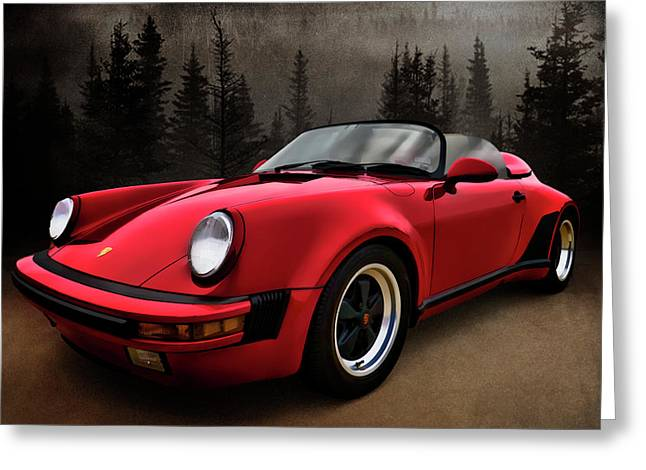 Porsche Greeting Cards - Black Forest - Red Speedster Greeting Card by Douglas Pittman
