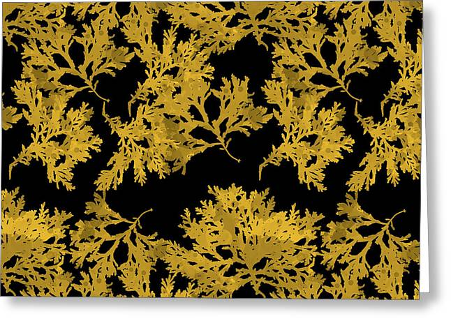 Black Gold Leaf Pattern Greeting Card by Christina Rollo