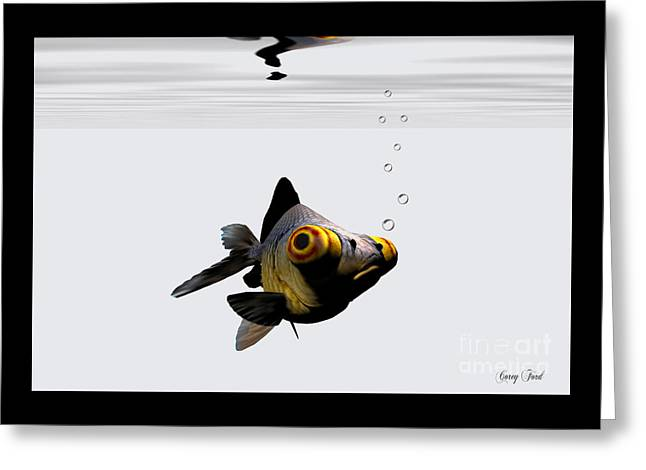 Black Goldfish Greeting Card by Corey Ford