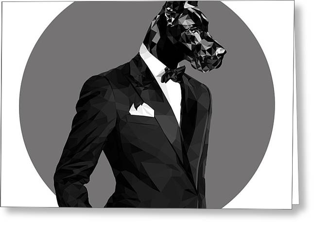 Black Great Dane 2 Greeting Card