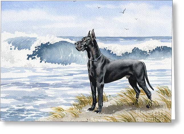 Black Great Dane At The Beach Greeting Card by David Rogers