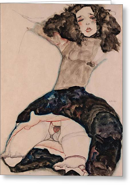 Black-haired Girl With Lifted Skirt 1911 Greeting Card by Egon Schiele
