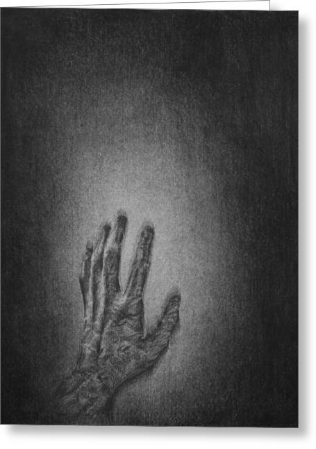 Black Hand Falling Greeting Card
