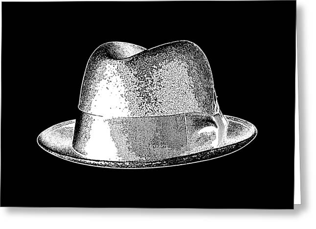 Black Hat T-shirt White Greeting Card by Edward Fielding
