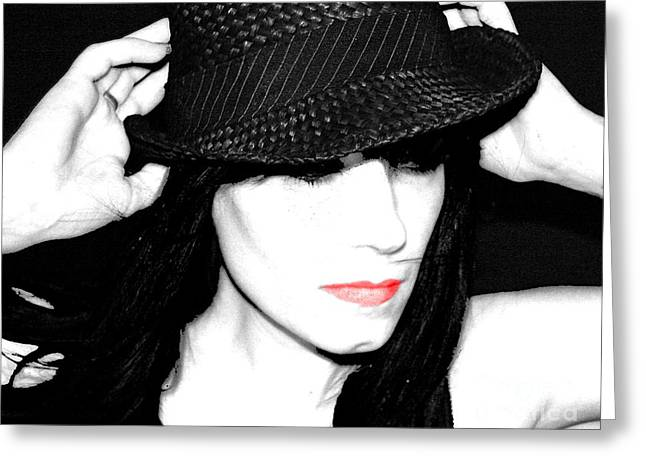 Black Hat Greeting Card by Tbone Oliver