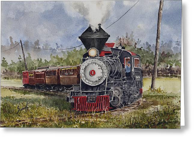 Trains Paintings Greeting Cards - Black Hills Central Number 7 Greeting Card by Sam Sidders