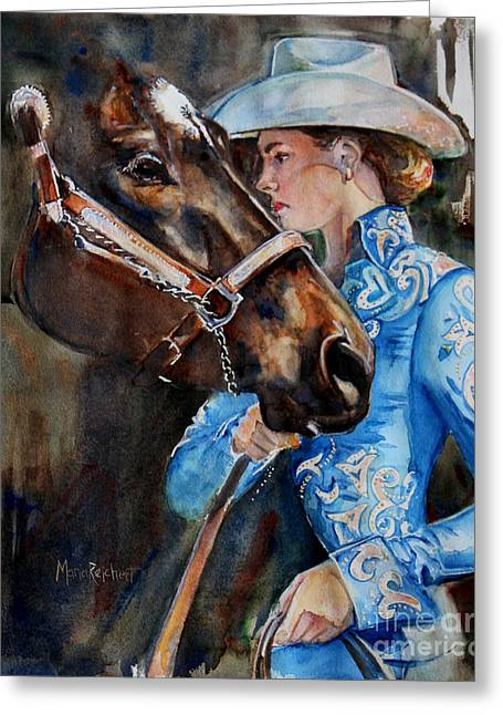 Black Horse And Cowgirl   Greeting Card