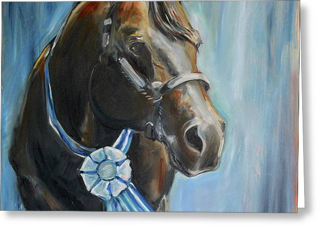 Black Horse Blue Ribbon Greeting Card by Maria's Watercolor