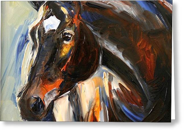 Black Horse Oil Painting Greeting Card by Maria's Watercolor