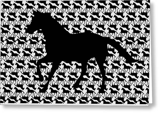 Black Horse Pattern With Large Black Horse Silhouette On Light Gray Greeting Card