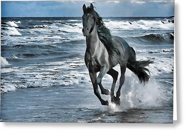 Black Horse Running Through Water Greeting Card by Lanjee Chee