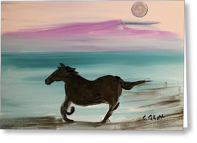 Black Horse With Moon Greeting Card