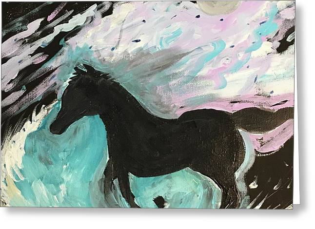 Black Horse With Wave Greeting Card