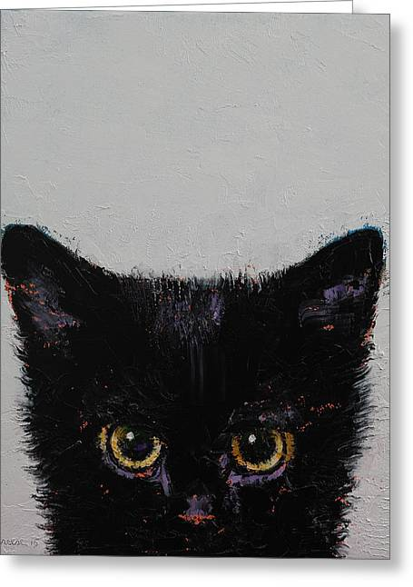 Black Kitten Greeting Card by Michael Creese