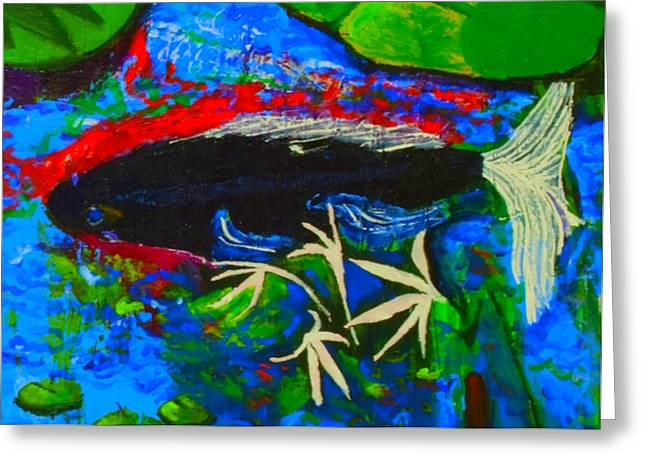 Greeting Card featuring the painting Black Koi Closeup by Angela Annas