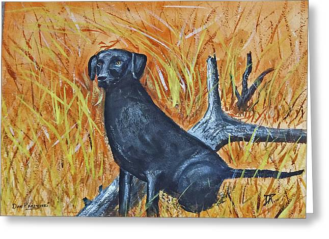 Greeting Card featuring the painting Black Lab-2 by Donald Paczynski
