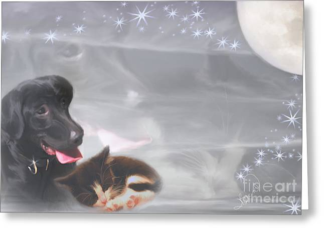 Black Lab And Kitten Collage Greeting Card by Judy Brand