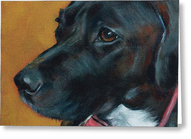 Black Lab Mix Greeting Card by Julie Dalton Gourgues