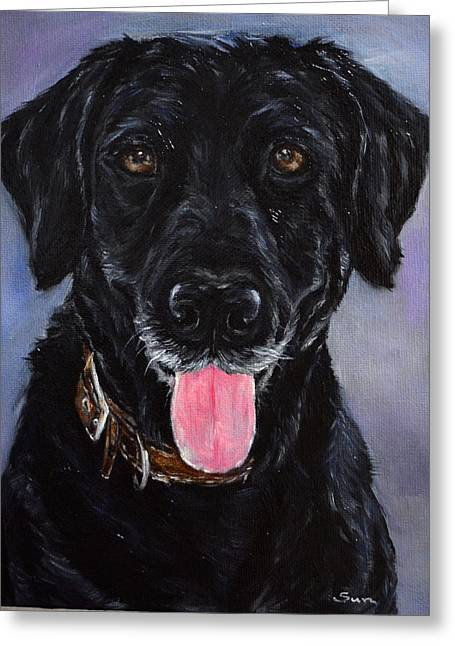 Black Lab Painting Greeting Card by Sun Sohovich