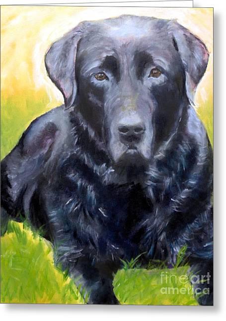 Black Lab Pet Portrait Greeting Card
