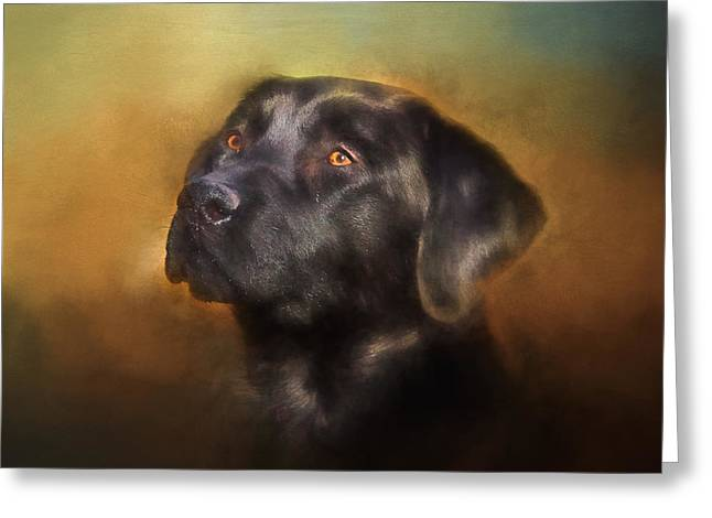Black Lab Portrait 2 Greeting Card by Eleanor Abramson