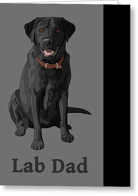 Greeting Card featuring the digital art Black Labrador Retriever Lab Dad by Crista Forest