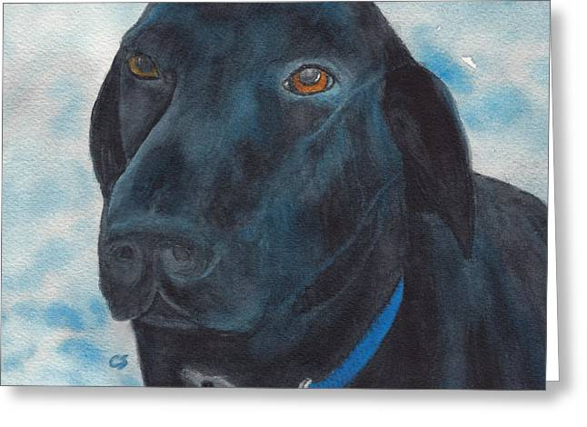 Black Labrador With Copper Eyes Portrait II Greeting Card
