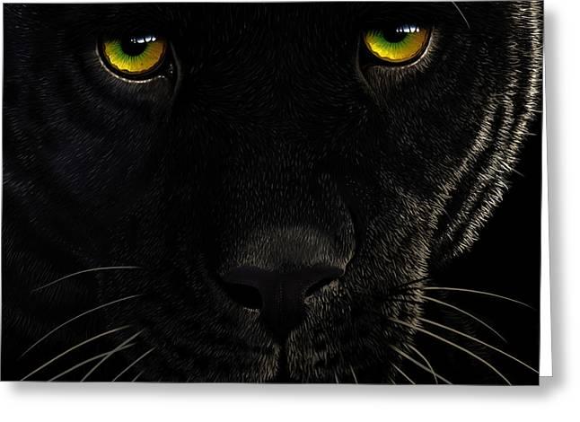 Black Leopard Greeting Card by Jurek Zamoyski