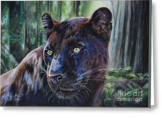 Black Leopard Greeting Card