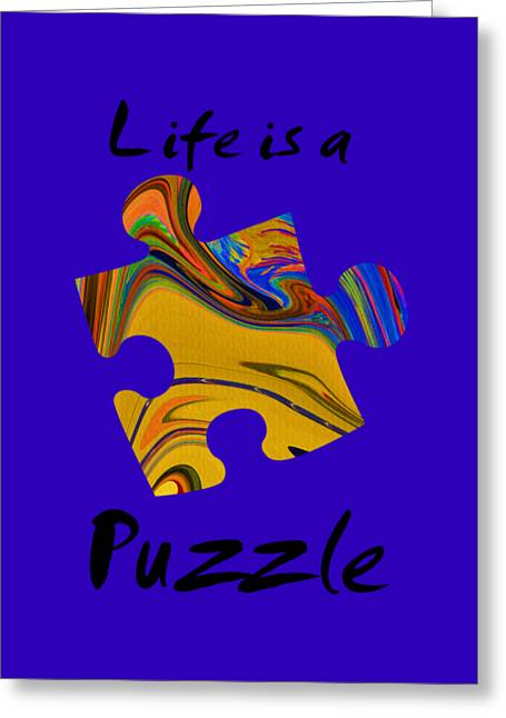 Black Life Is A Puzzle Greeting Card by The one eyed Raven