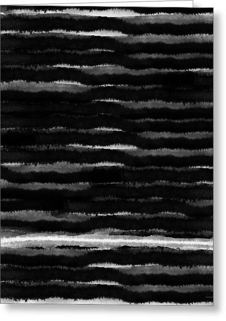 Black Lines- Art By Linda Woods Greeting Card by Linda Woods