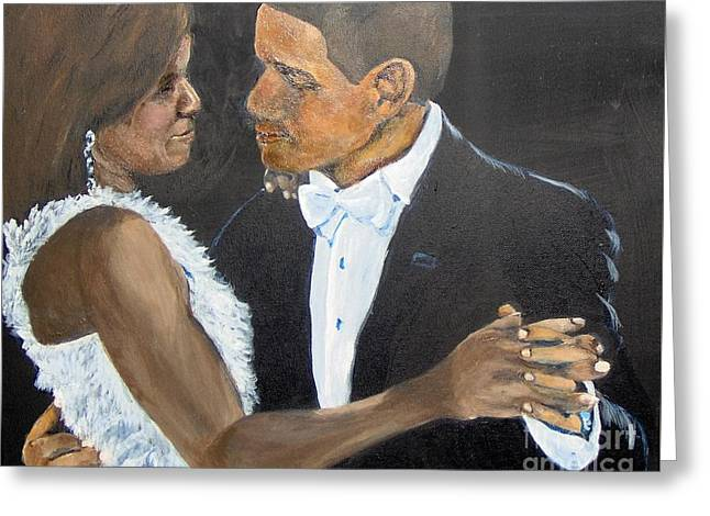 Greeting Card featuring the painting Black Love Is Black Power by Saundra Johnson