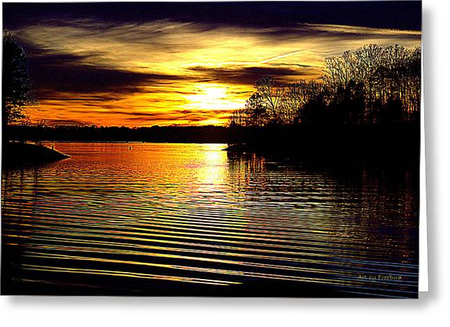 Black Magic On The Water Greeting Card by FreeBird Skains