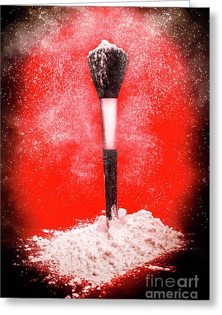 Black Make-up Brush Covered With Powder Greeting Card by Jorgo Photography - Wall Art Gallery