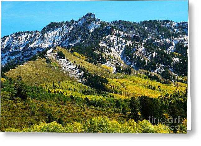 Black Mesa Rocky Peak In Autumn Greeting Card