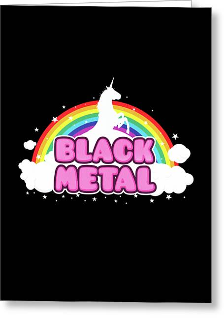 Black Metal Funny Unicorn / Rainbow Mosh Parody Design Greeting Card
