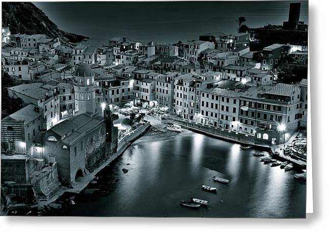 Black Night In Vernazza Greeting Card by Frozen in Time Fine Art Photography