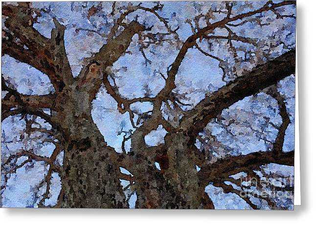 Greeting Card featuring the painting Black Oaks by Mark Greenberg