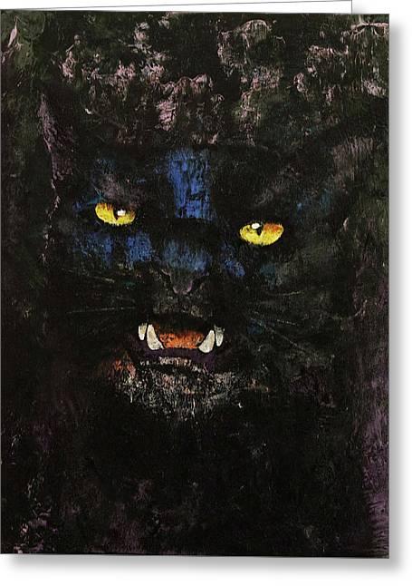 Black On Black Cat Greeting Card