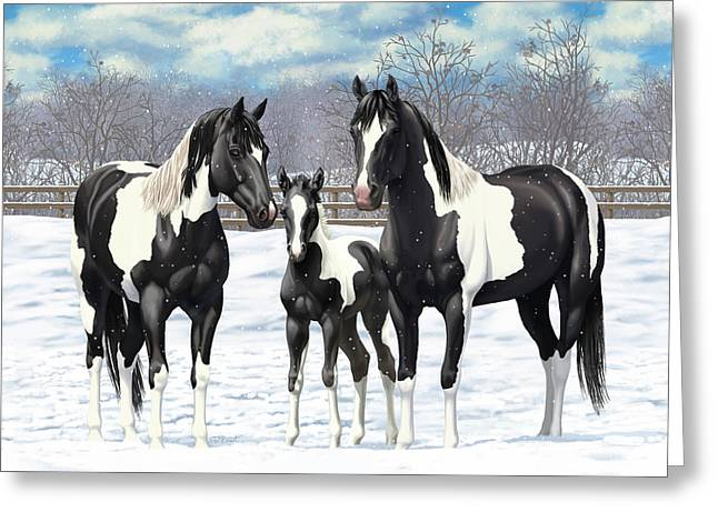 Black Paint Horses In Winter Pasture Greeting Card