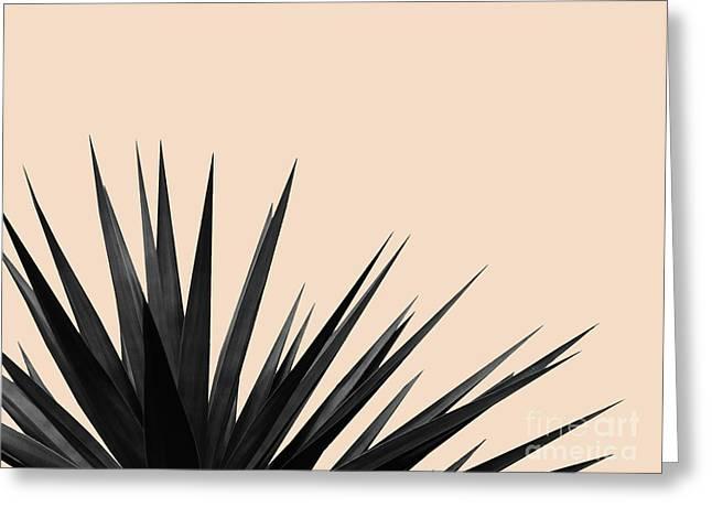 Black Palms On Pale Pink Greeting Card