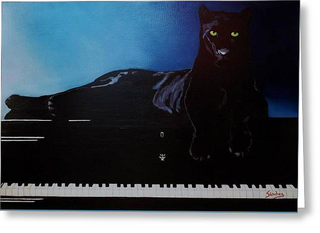 Black Panther And His Piano Greeting Card