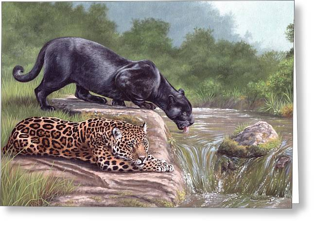 Black Panther And Jaguar Greeting Card by Rachel Stribbling
